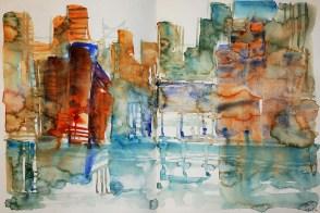 CW2016_abstract_watercolor014 / Daler-Rowney Graduate Sketchbook, 2x 21,0 x 21,0 cm / 8.3 x 8.3 in / Lukas Aquarell 1862 / ´Hamburg Hafencity´