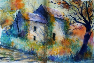 254_2016 Watercolor-Sketches /Daler-Rowney Graduate Sketchbook, 2x 21,0 x 29,7 cm / 8.3 x 11.7 in / Lukas Aquarell 1862 Lukas Farben / `Old cottage´