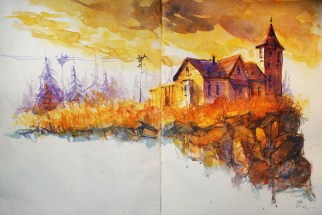 256_2016 Watercolor-Sketches /Daler-Rowney Graduate Sketchbook, 2x 21,0 x 29,7 cm / 8.3 x 11.7 in / Lukas Aquarell 1862 Lukas Farben / ´Cliff House´
