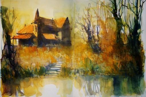 279_2016 Watercolor-Sketches /Daler-Rowney Graduate Sketchbook, 2x 21,0 x 14,9 cm / 8.3 x 5.8 in / Lukas Aquarell 1862