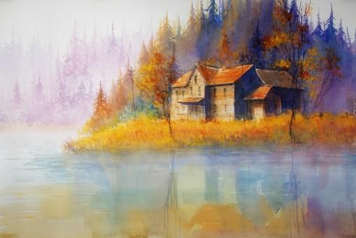 226_2016 Watercolor / Fabriano artistico satinized – ca. 76 x 56 cm / 29.9 x 22.0 in / Lukas Aquarell 1862 `Autumn Morning Dew´
