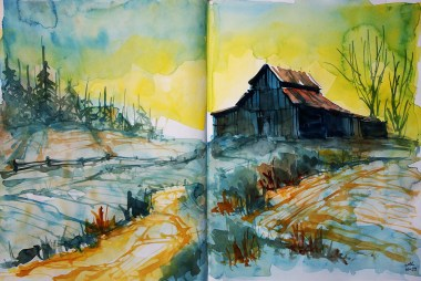 386_2016 Watercolor-Sketches /Daler-Rowney Graduate Sketchbook, 2x 21,0 x 14,9 cm / 8.3 x 5.8 in / Lukas Aquarell 1862 - Painting with 3 colors: cadmium yellow, burnt sienna & prussian blue