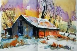 400_2016 Watercolor-Sketches /Daler-Rowney Graduate Sketchbook, 2x 21,0 x 14,9 cm / 8.3 x 5.8 in / Lukas Aquarell 1862 Lukas Farben A quick morning sketch - preparing for winter.