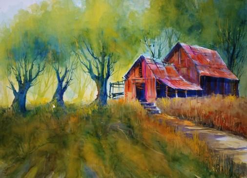 237_2016 Watercolor ´Brush Park Sundown´ / Fabriano artistico satinized – ca. 76 x 56 cm / 29.9 x 22.0 in / Lukas Aquarell 1862