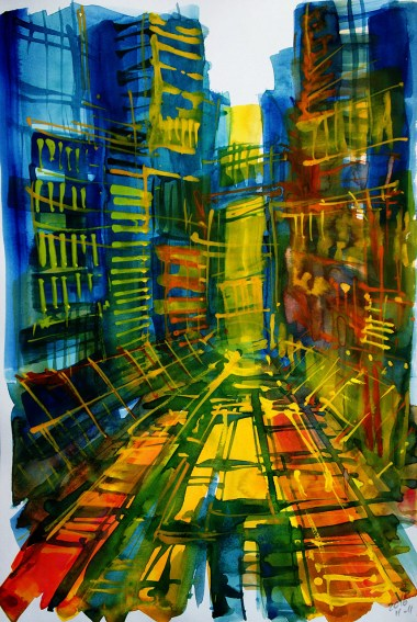 CW2016_abstract_watercolor047 / `Kowloon I´ Daler-Rowney Graduate Sketchbook, 21,0 x 29,7 cm / 8.3 x 11.7 in / Lukas Aquarell 1862