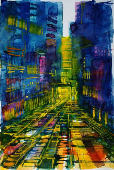 CW2016_abstract_watercolor048 / `Kowloon II´ Daler-Rowney Graduate Sketchbook, 21,0 x 29,7 cm / 8.3 x 11.7 in / Lukas Aquarell 1862
