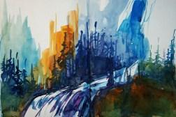 417_2016 Watercolor-Sketches ´Yosemite Falls´/Daler-Rowney Graduate Sketchbook, 2x 21,0 x 14,9 cm / 8.3 x 5.8 in / Lukas Aquarell 1862