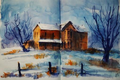 424_2016 Watercolor-Sketches /Daler-Rowney Graduate Sketchbook, 2x 21,0 x 14,9 cm / 8.3 x 5.8 in / Lukas Aquarell 1862