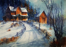 254_2016 Watercolor / Fabriano artistico rough – ca. 76 x 56 cm / 29.9 x 22.0 in / Lukas Aquarell 1862 ´The way home´