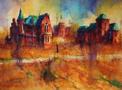 "178_2017 Watercolor / Fabriano Artistico rough 61 x 45,5 cm / 24´ x 17.9´ / Lukas Aquarell 1862 ""Fading Memories - Brush Park, Detroit, MI"""