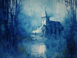 """179_2017 Watercolor / Hahnemühle Anniversary Edition ca.48 x 36 cm / 18.9 x 14.2 in / Lukas Aquarell 1862 """"The Blue Hour"""""""