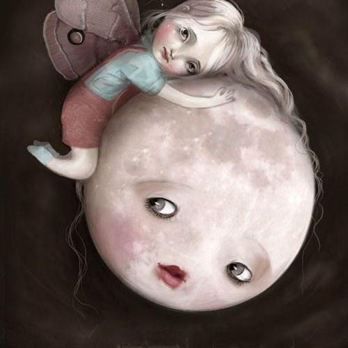 illustration of a little girl holding onto the moon, moon looks sad