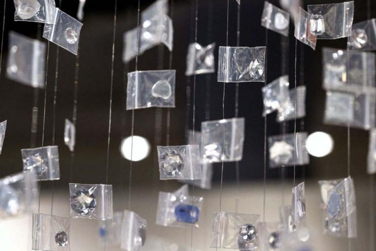 chandelier sculpture of heroin baggies