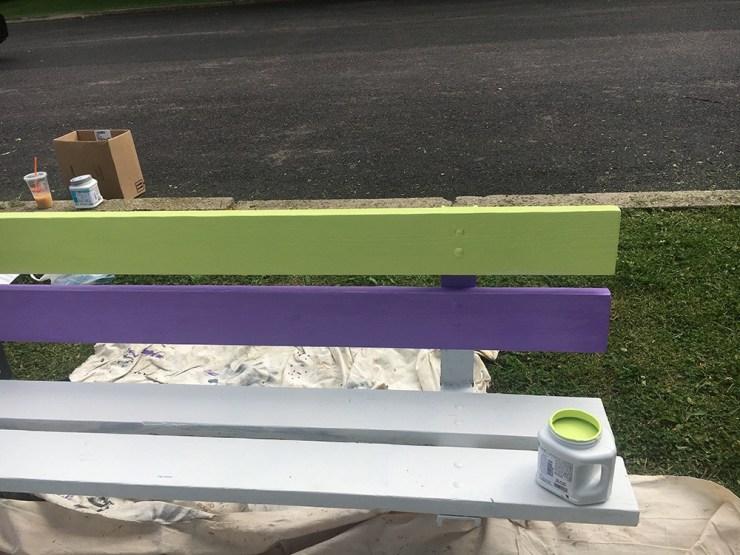 Polka dot bench in progress