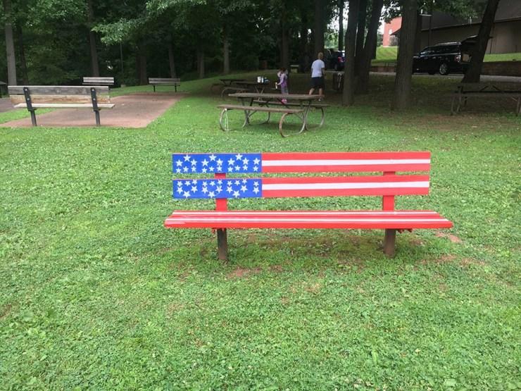 A patriotic bench