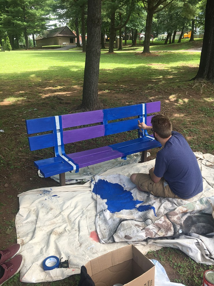 A painter in action