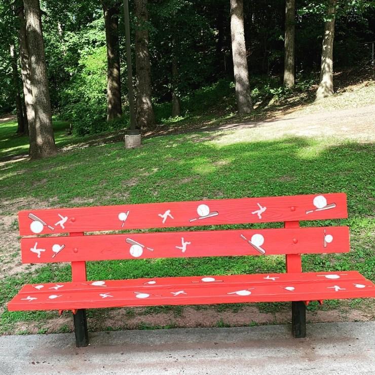 Cobalt red, softball or baseball bench