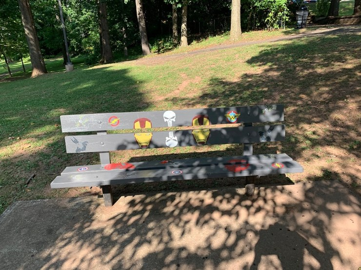 Completed super hero themed bench