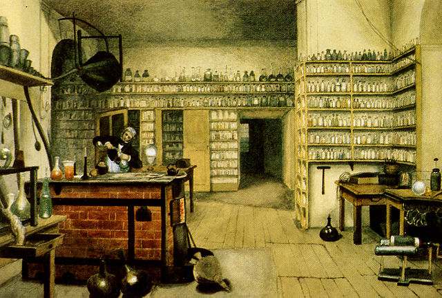 Michael Faraday in his laboratory at the Royal Institution