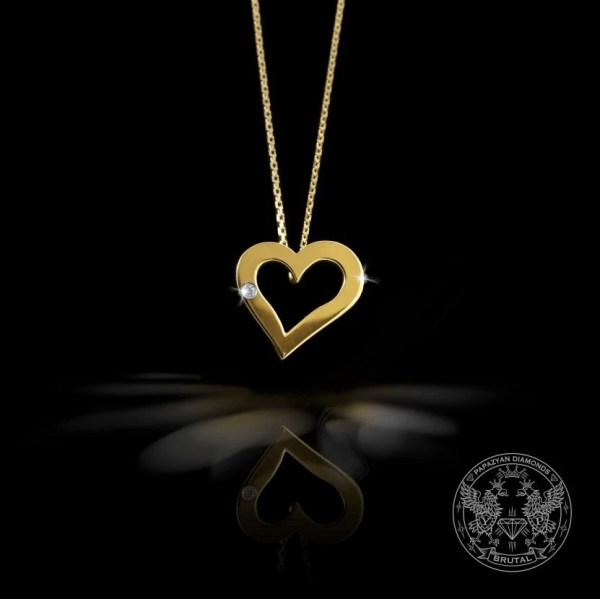 Медальон Сърце с диамант