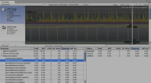Profiling a unity application with Unity's profiler.