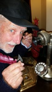 Robin Queree on the telephone at the Metropole Jul17 (3)