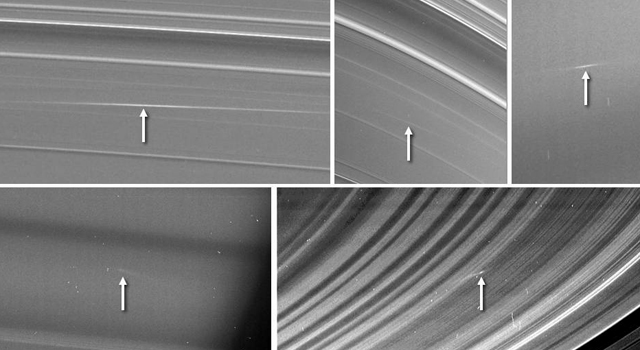 Saturn's rings, struck by rocks.