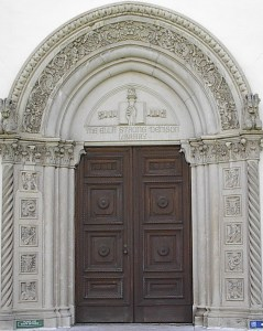 Massive library door