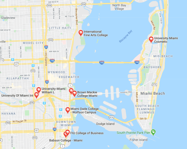 Miami colleges and universities around Biscayne Bay