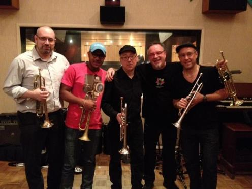 The trumpets at the 1st session for Brian Lynch's Latin Jazz Tribute to Woody Shaw. L-R: BD, Etienne Charles, Brian Lynch, Diego Urcola, Dave Douglas