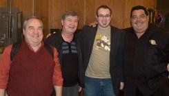 American Dad recording, trumpet section +1. L-R: Charlie Davis, Warren Luening, BD, Rick Baptist