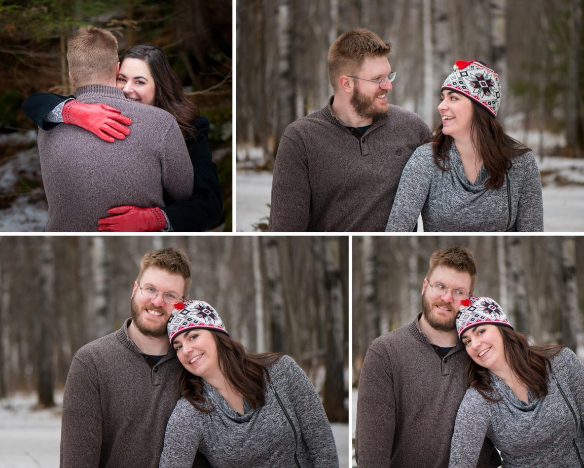 Winter engagement photos by Amity Creek at Lester Park in Duluth, MN.