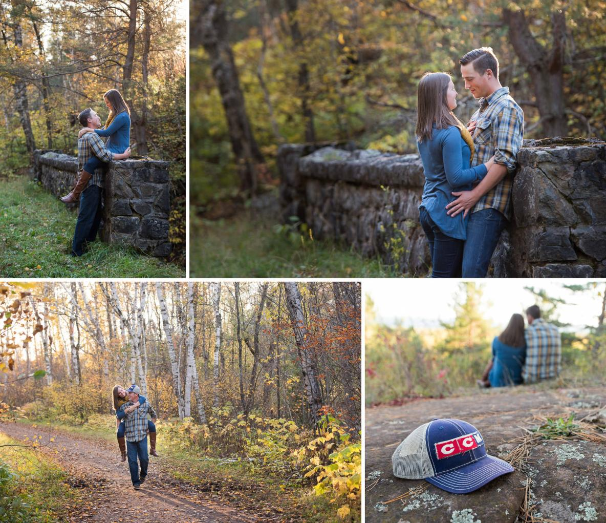 Fall colors couple engagement photos; leaves in background.
