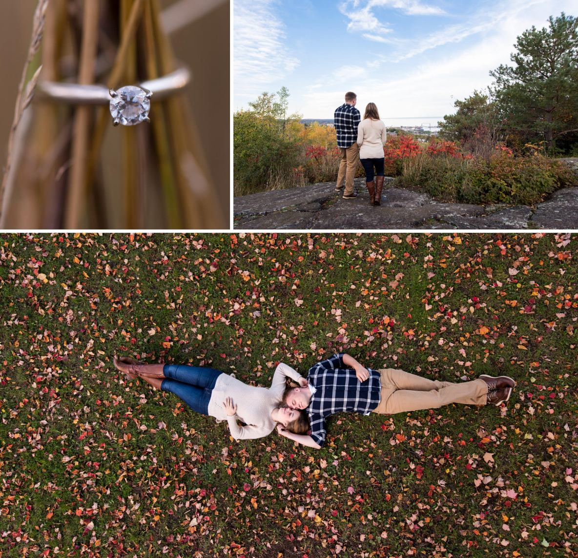 Engagement photos of couple lying down in fall leaves, surrounded by nature.