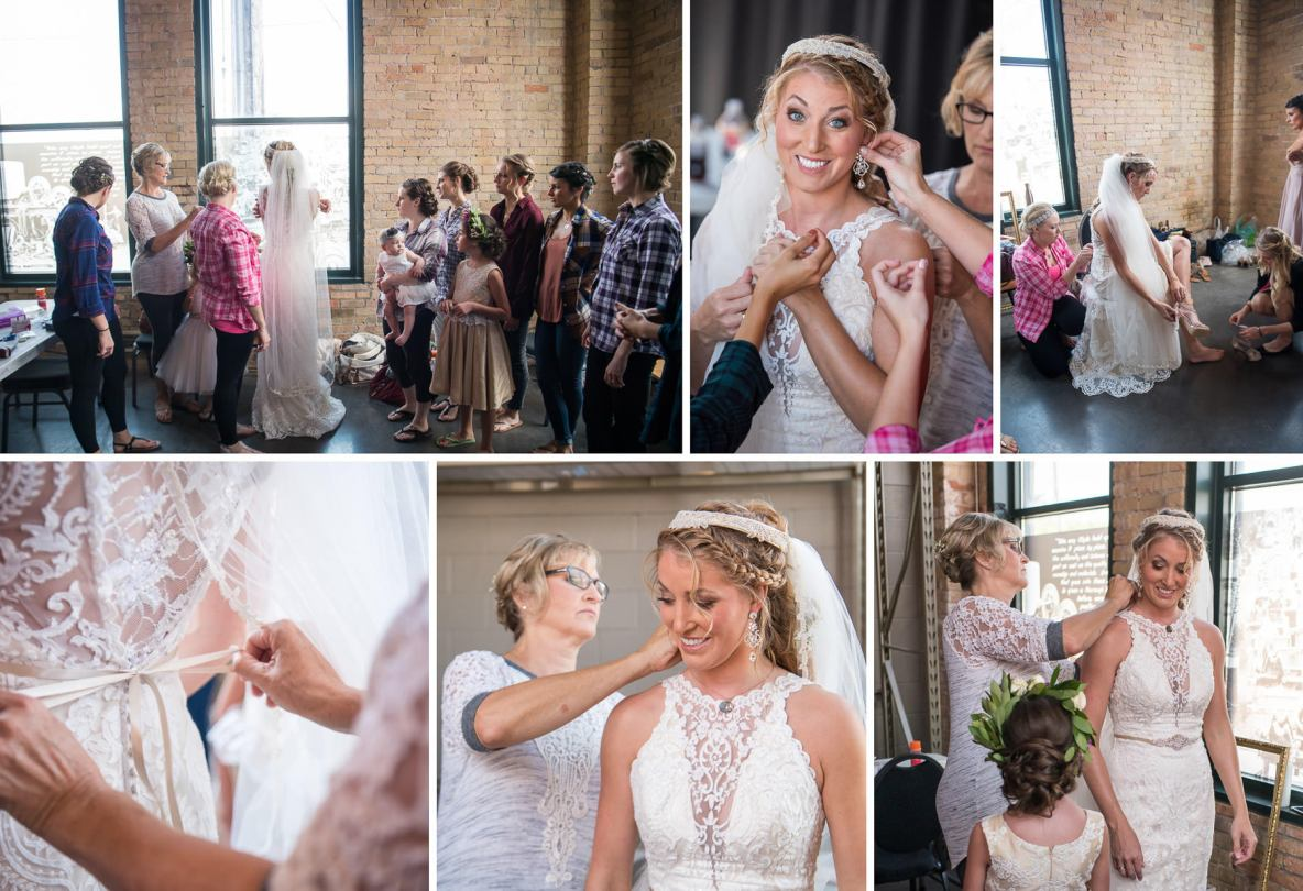 Bride getting ready photos; finishing touches including dress getting tied and earrings put on.