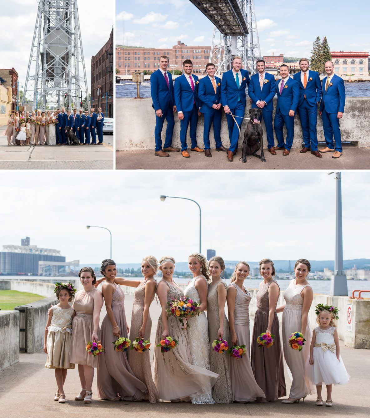 Wedding party photos on the streets of Duluth.