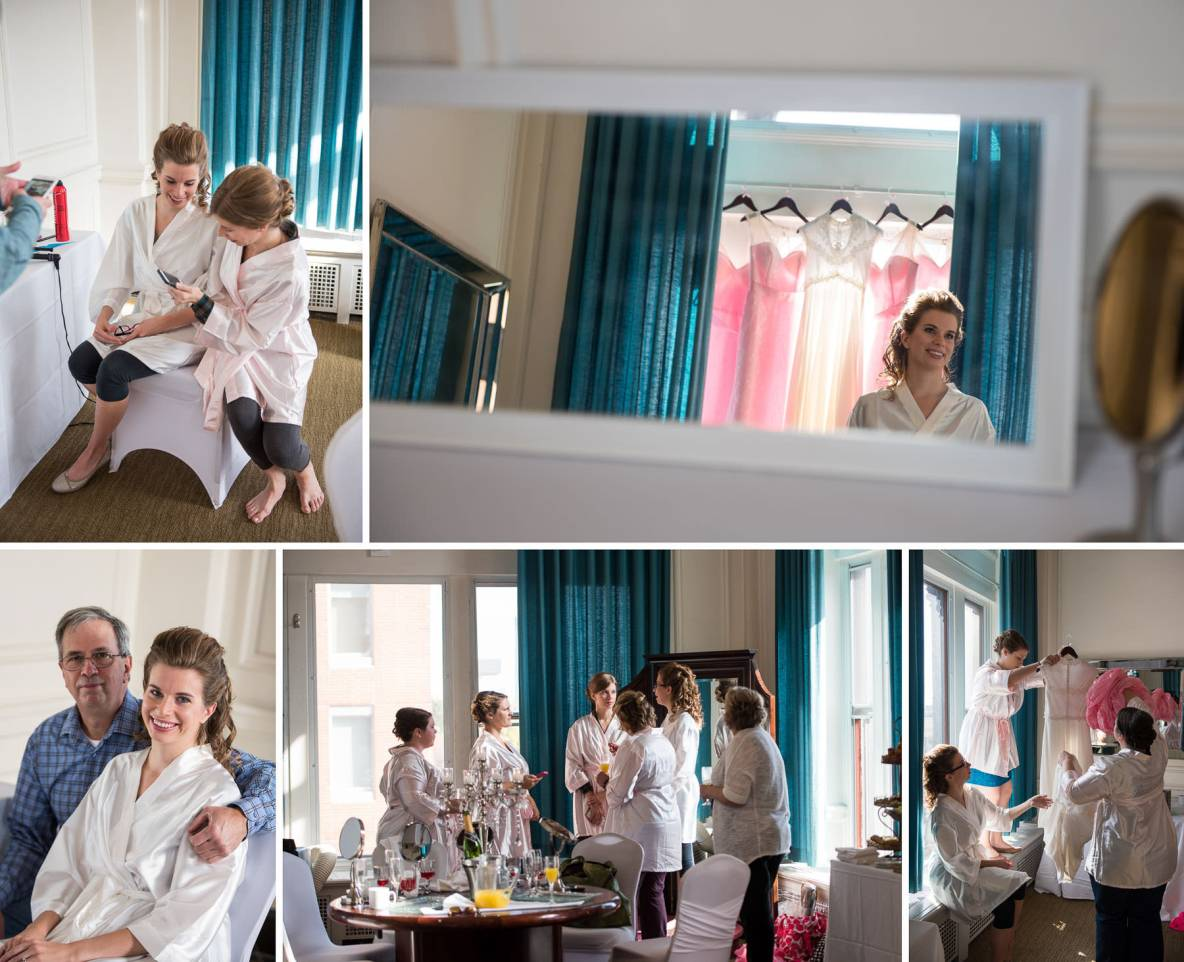 Photos of the bride getting ready before the wedding in a bridal suite.