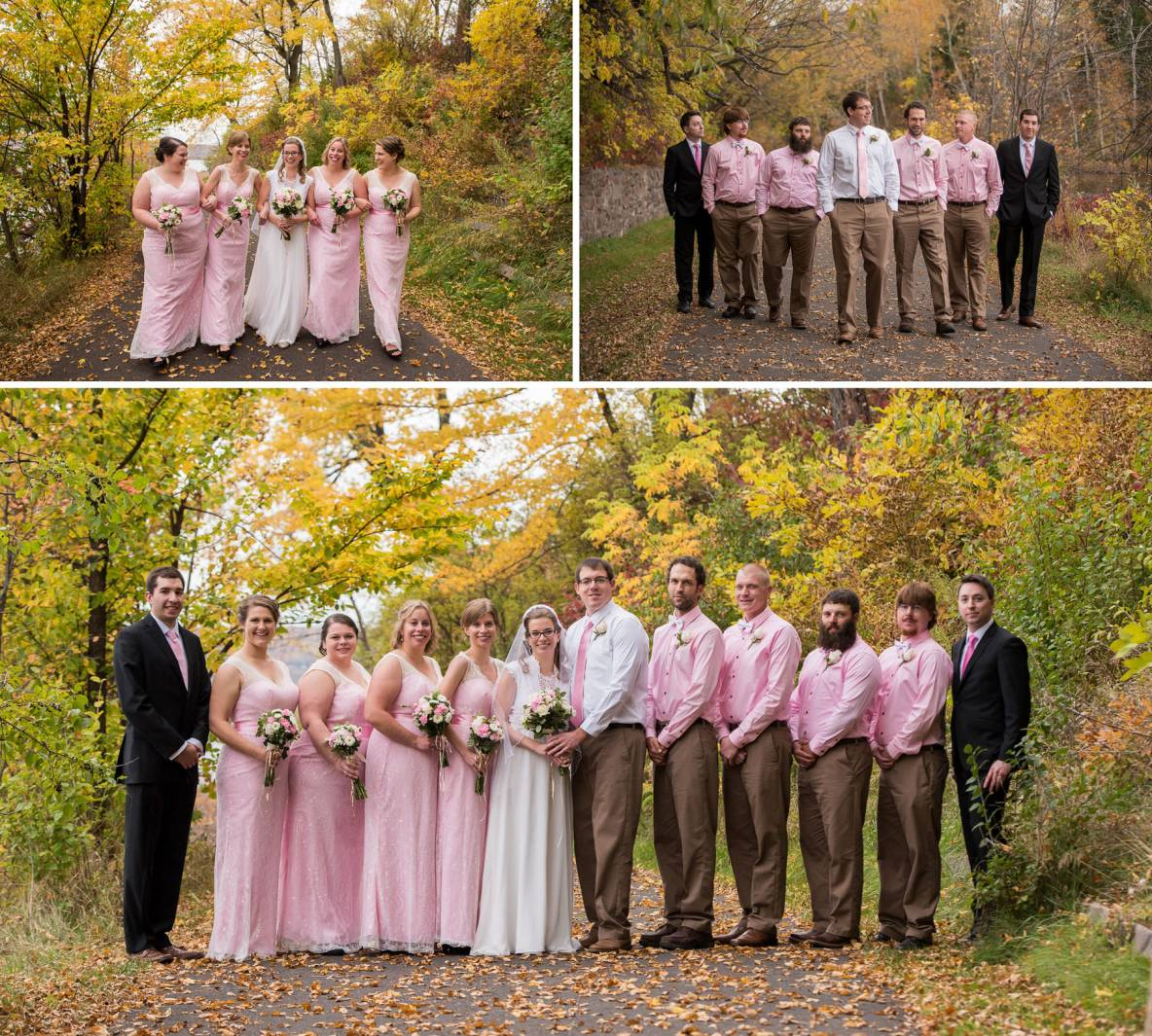 Photos of the wedding party looking sharp outdoors in the fall colors.