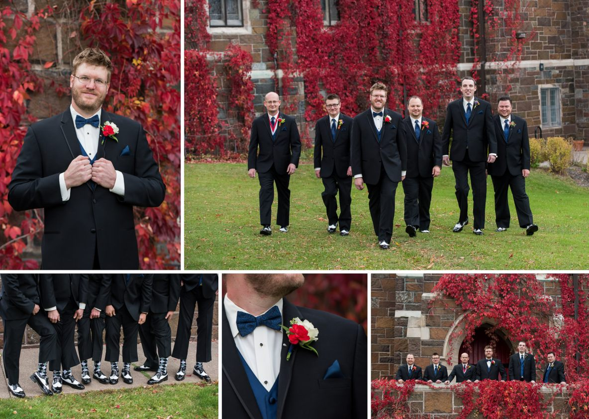 Groom and groomsmen outside in front of vine covered church; photo of groomsmen wearing matching socks.