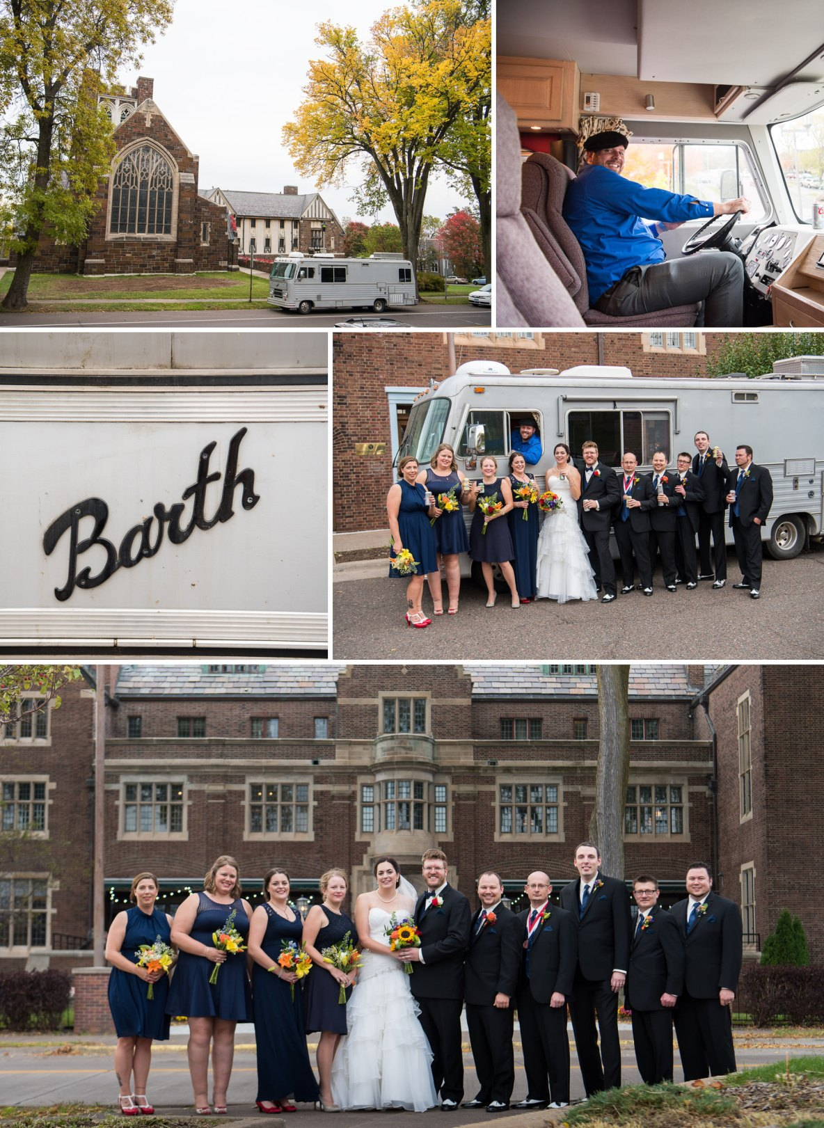 Wedding party in front of picturesque building and old school RV.