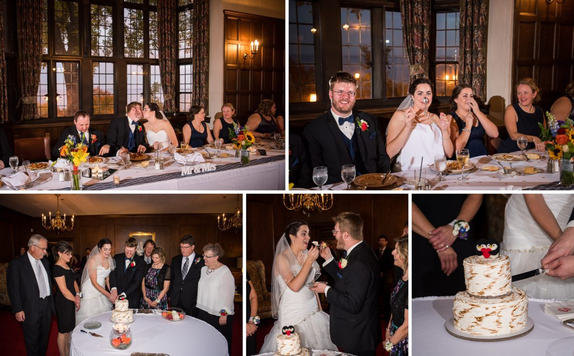 Photos of the reception meal, the couple cuts the cake and kiss.