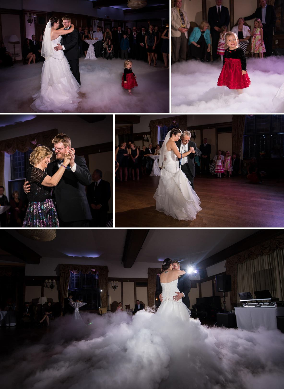 First dance photos on a smoky dance floor.