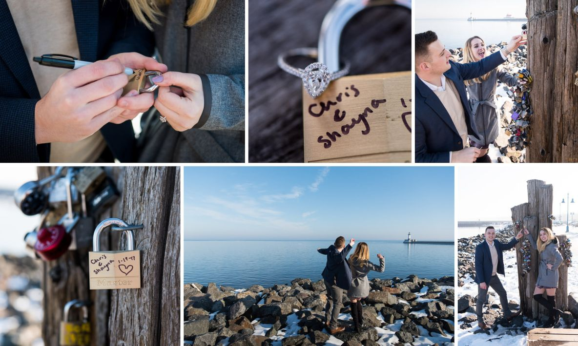 Newly engaged couple with lock and key with Lake Superior in background.