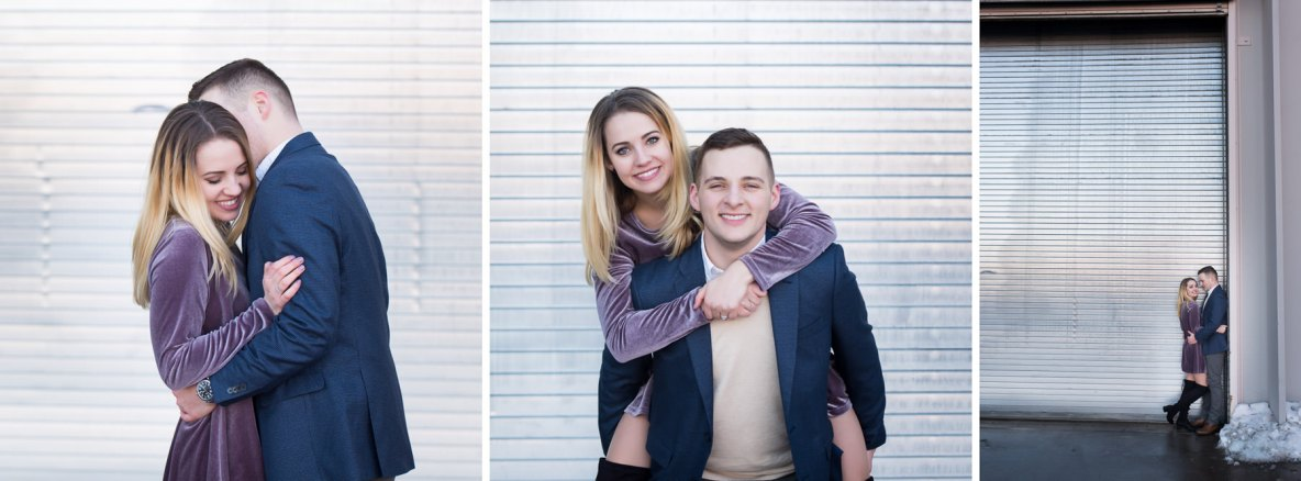 Engaged couple photos outside with snow and plain background.