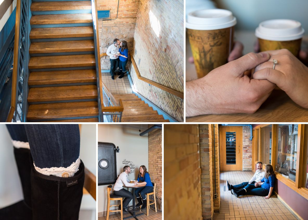 Photos of the engaged couple on a coffee date.