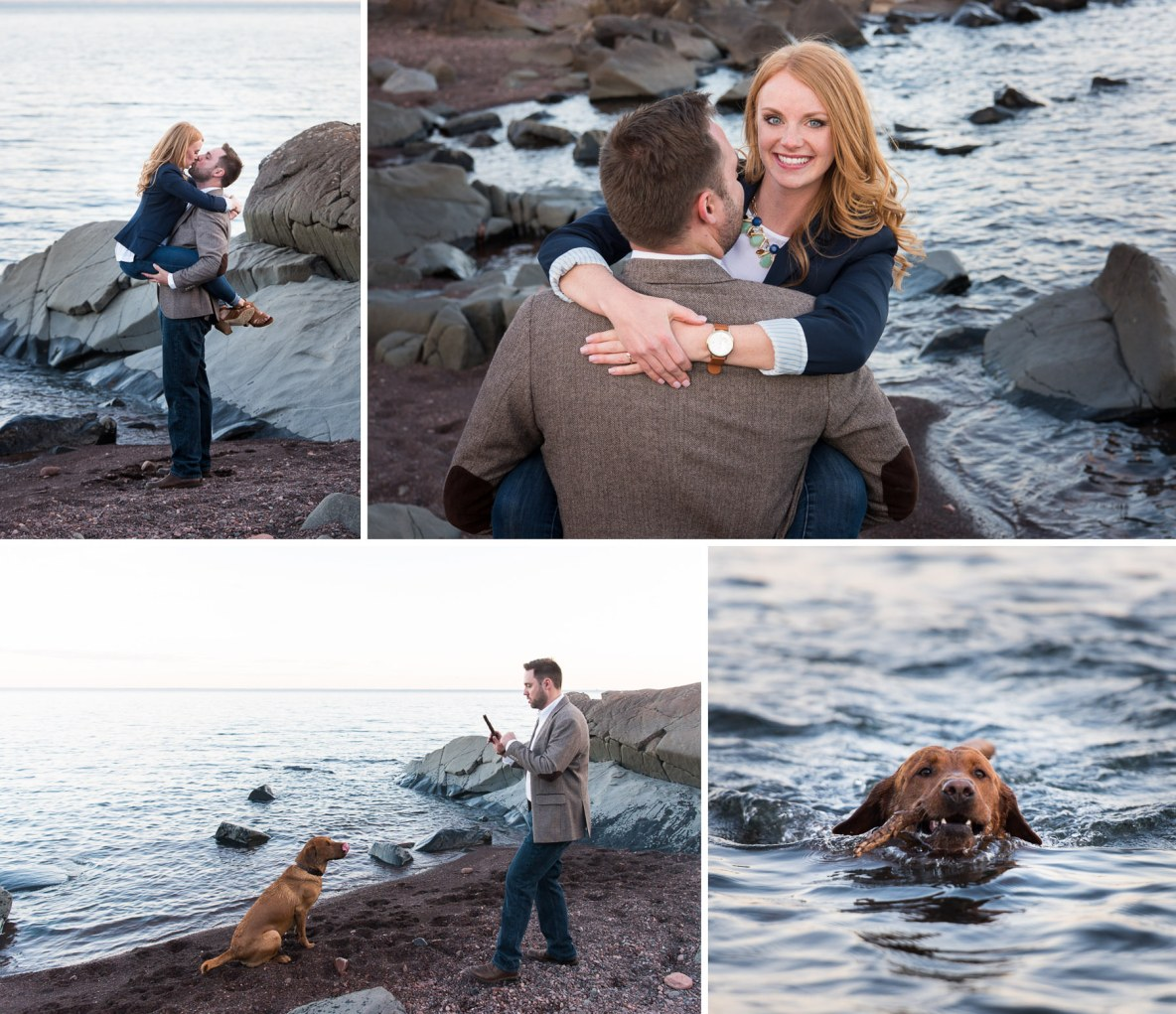 Engagement photos with red lab at Brighton Beach in Duluth, MN.