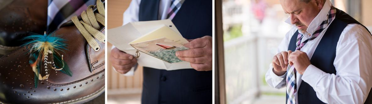 Details of the groom's attire, including photo of a fly fishing lure boutonniere.