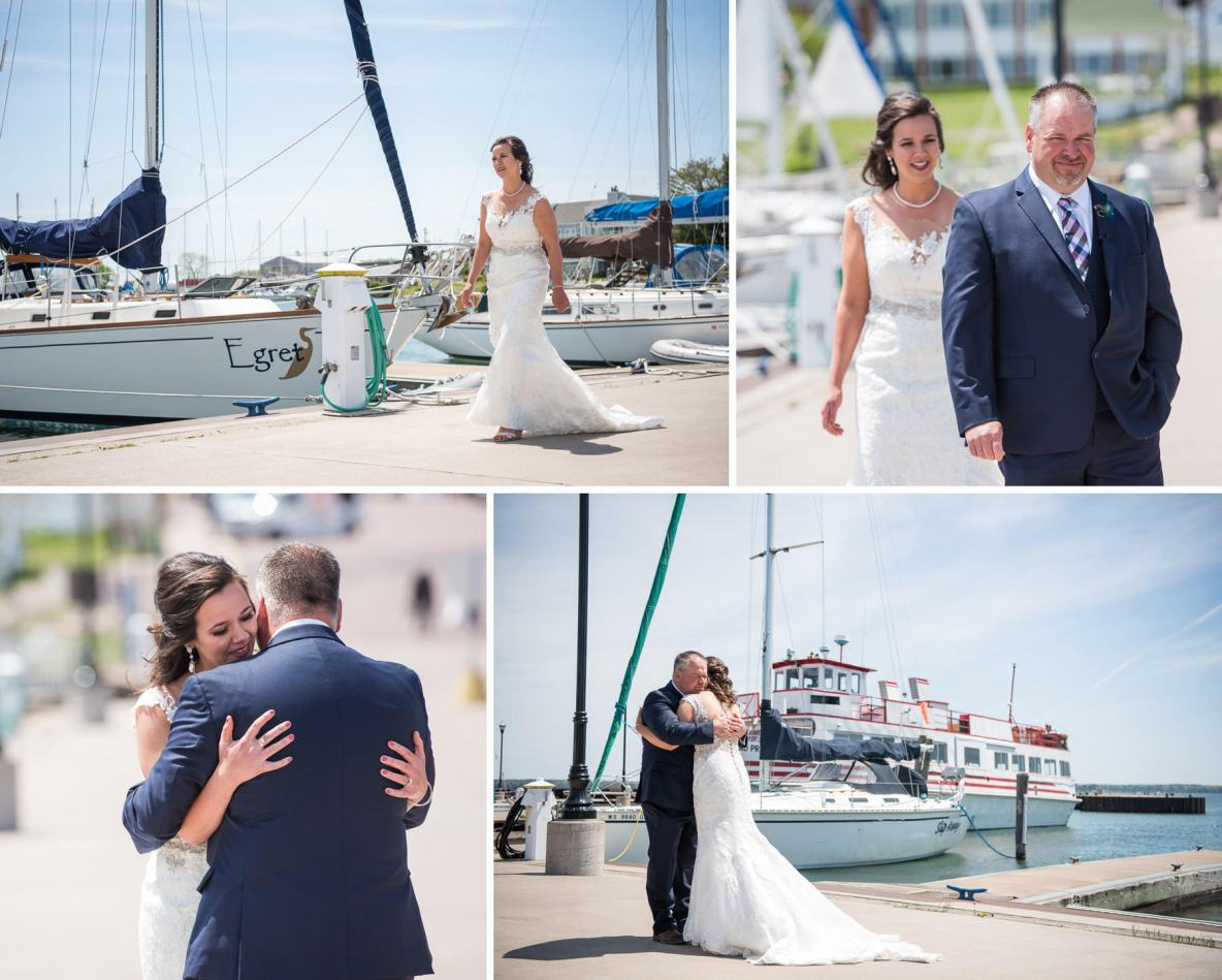 First look photos in front of sail boats at Marina.