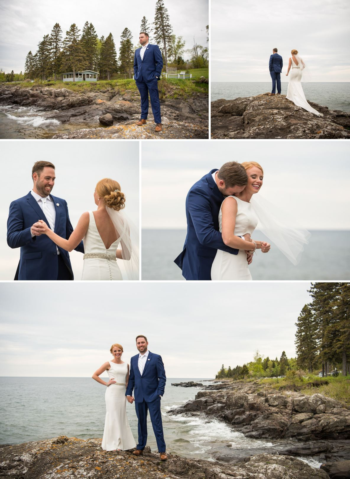Bride and groom photos outside by Lake Superior.