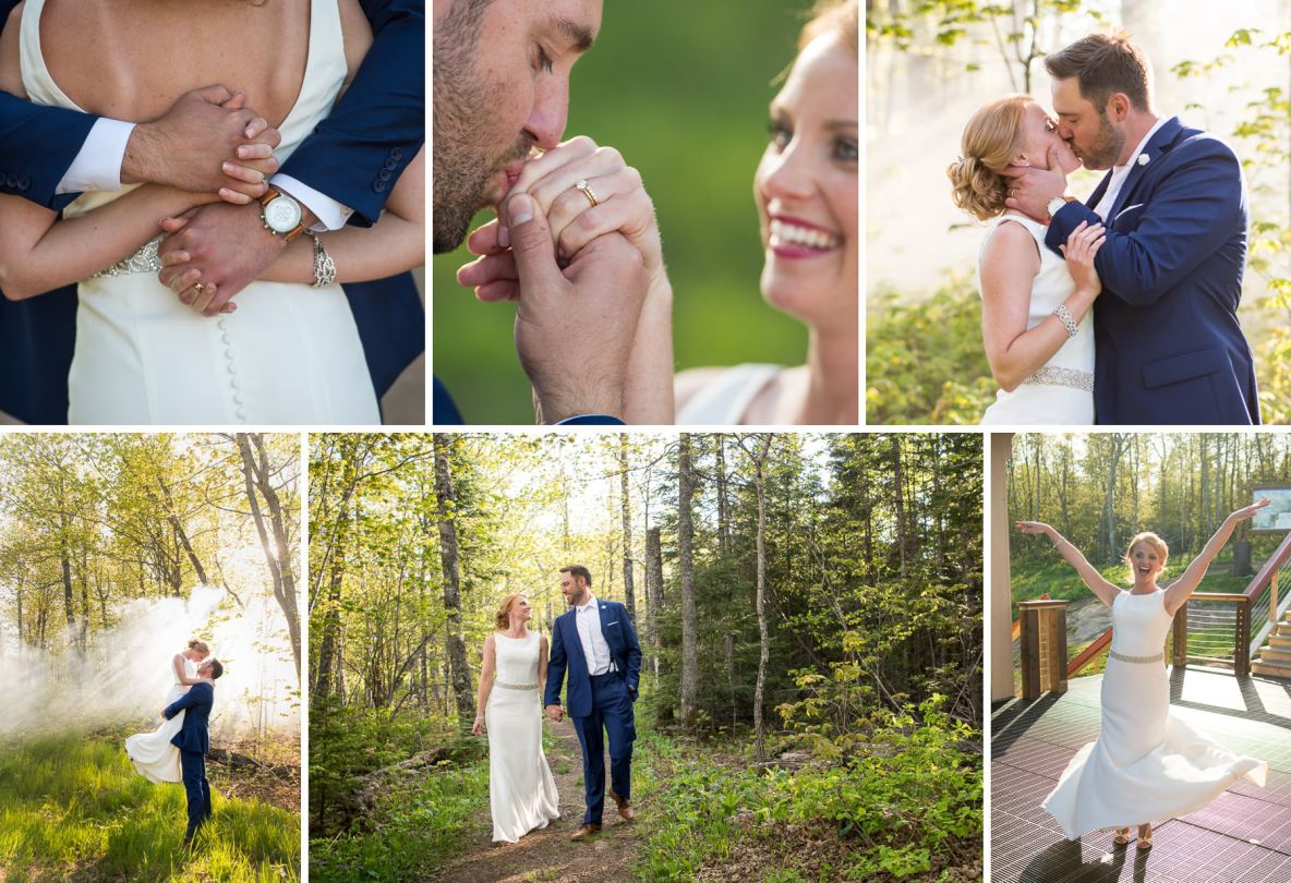 Bride and groom photos outside in nature, with sunshine and green leaves.